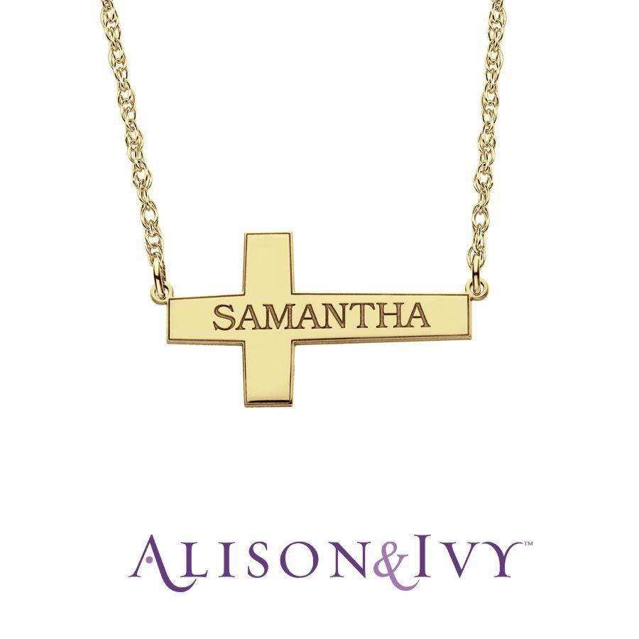 Allison Ivy Sideways Cross Name Necklace Allison Ivy