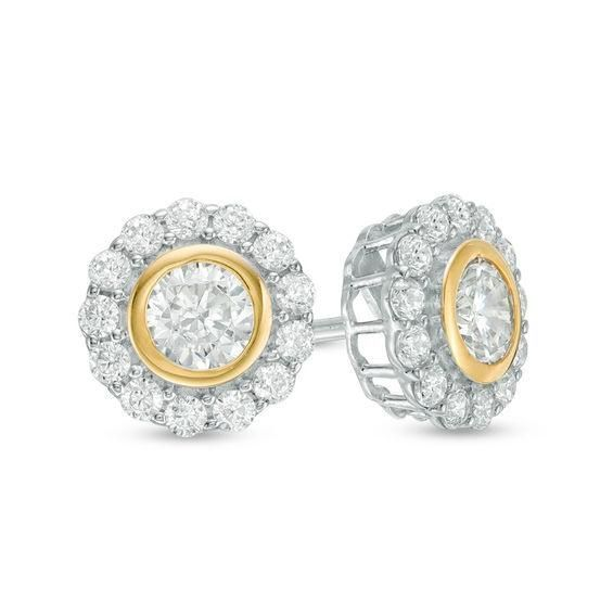 Zales 1/10 CT. T.w. Diamond Wave Flower Stud Earrings in Sterling Silver and 14K Gold Plate oOk3nb