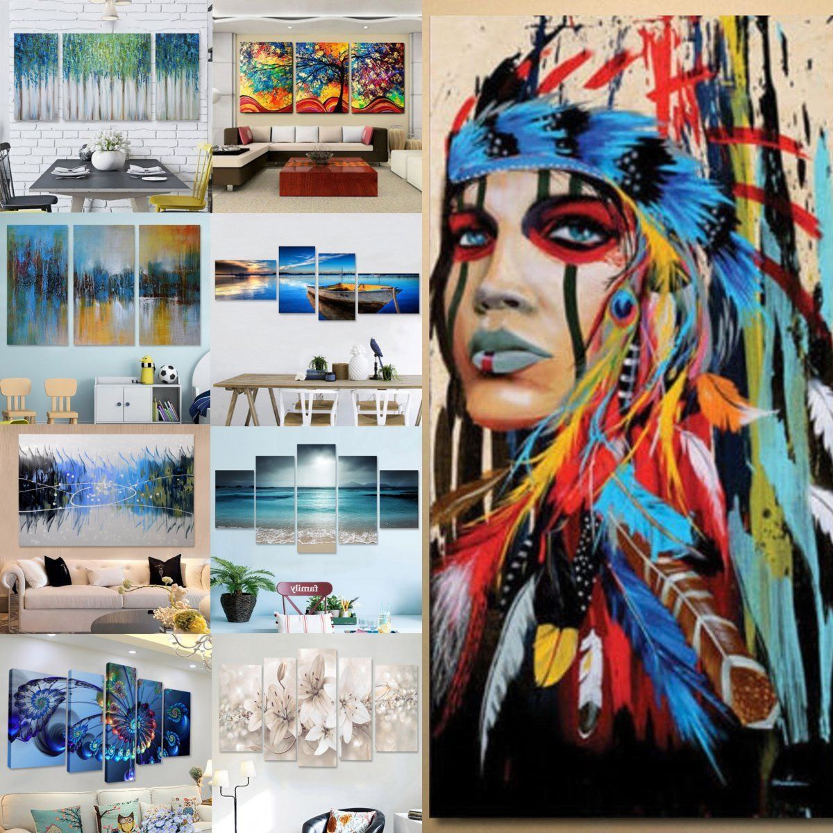 Abstract Modern Oil Painting Art Canvas Print Wall Home Decor ...