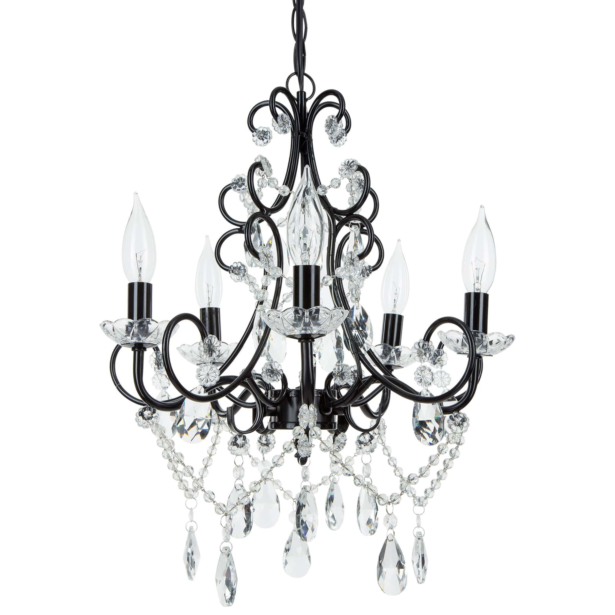 5 Light Classic Crystal Plug In Chandelier Black In