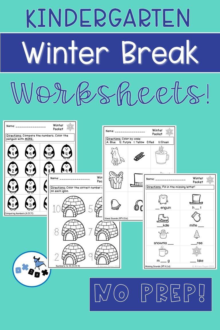 Winter Break Activities Kindergarten Worksheets Common Core Aligned No Prep Winter Break Activities Winter Math Worksheets Kindergarten Worksheets [ 1152 x 768 Pixel ]