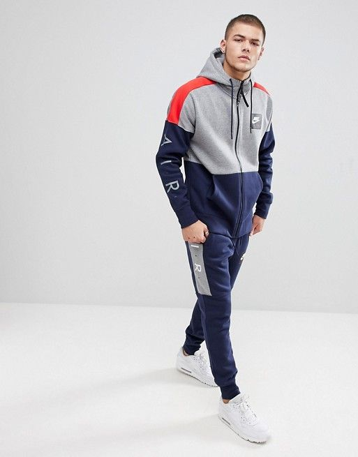 c34d00e6d Nike Air Zip Through Hoodie With Arm Print In Grey 886044-092 | men ...