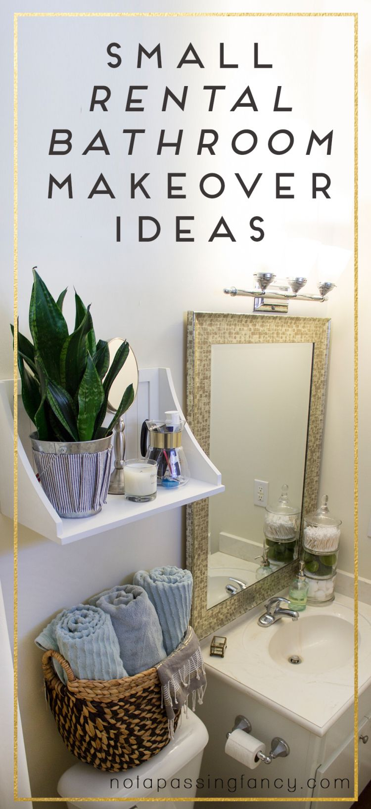 Small rental bathroom makeover ideas not a passing fancy blog create share inspire top pins - Bathroom decorating ideas for apartments ...