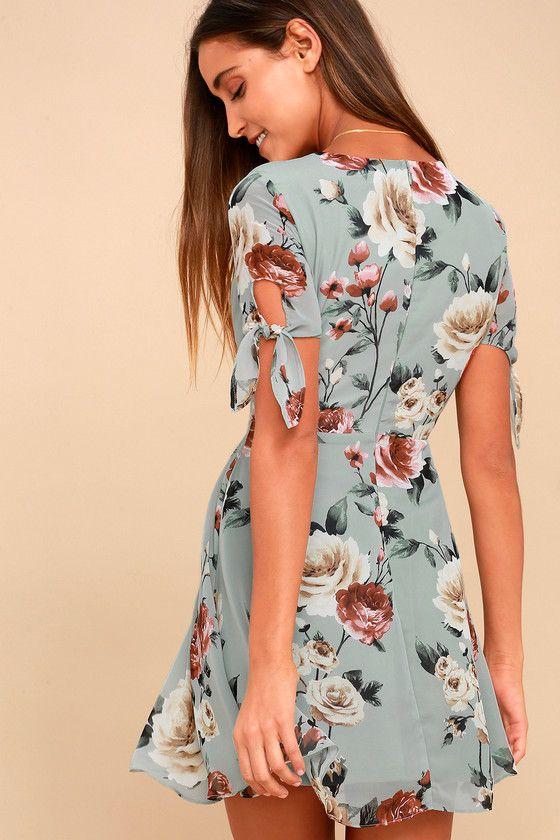 ade709b5df6 Botany Language Sage Green Floral Print Skater Dress in 2019 ...