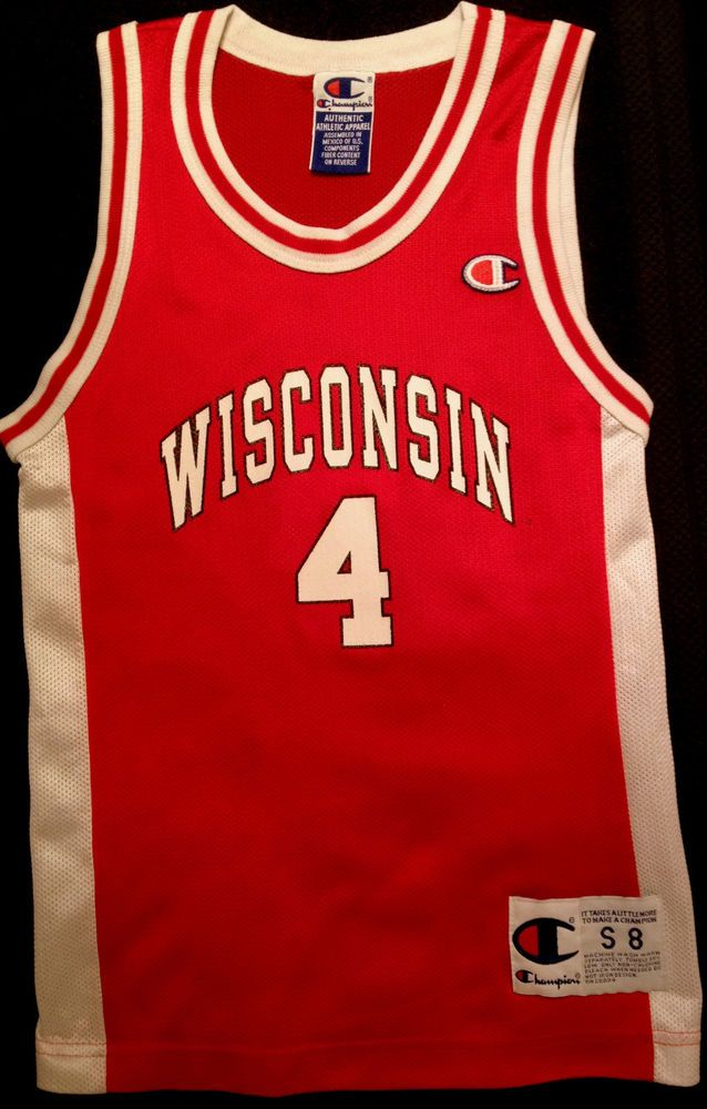 reputable site e5b65 11e12 WISCONSIN BADGERS VINTAGE CHAMPION BASKETBALL JERSEY YOUTH SMALL 8 FREE  SHIPPING  Champion  WisconsinBadgers