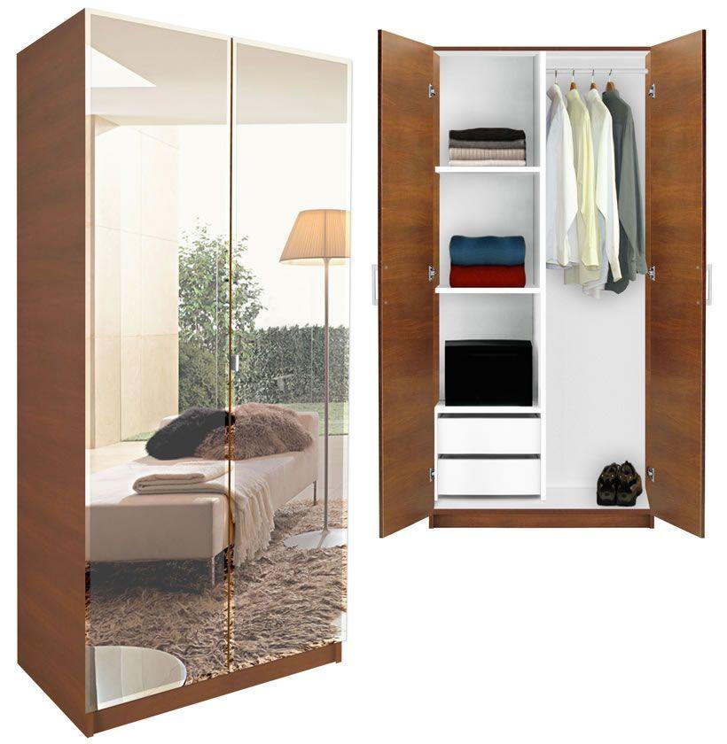 Gentil Alta Wardrobe Closet   Half And Half   Shown With Mirrored Cabinet Doors
