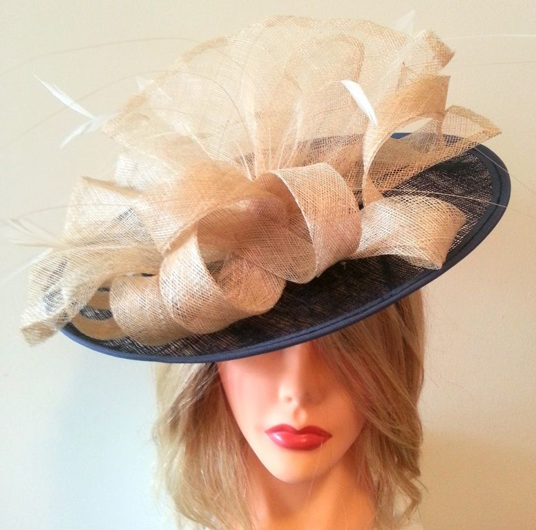 Style: Amanda - Stunning Navy Blue & Cream Sinamay & Feather fascinator - 34cm wide. Also comes in blue/yellow, fuchsia pink/green, purple/orange. www.jane-louise.com Australia wide delivery