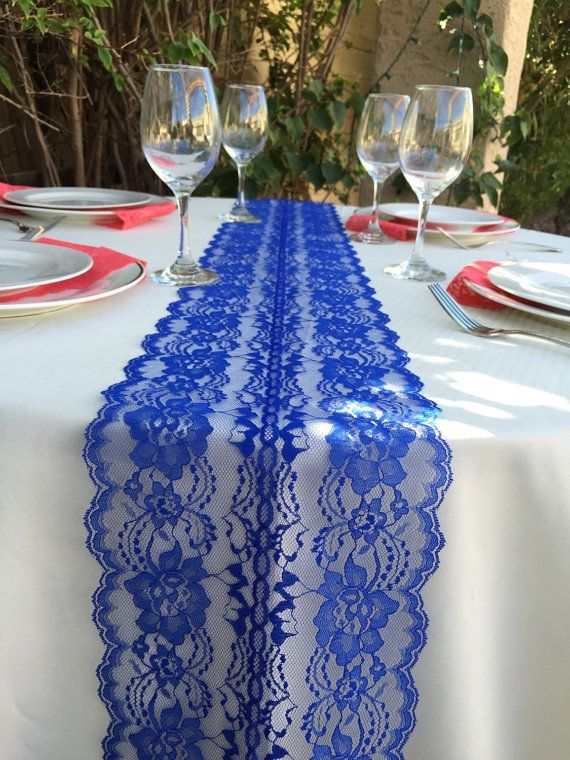 Lace Table Runner Royal Blue Wedding Decor Por Lovelylacedesigns