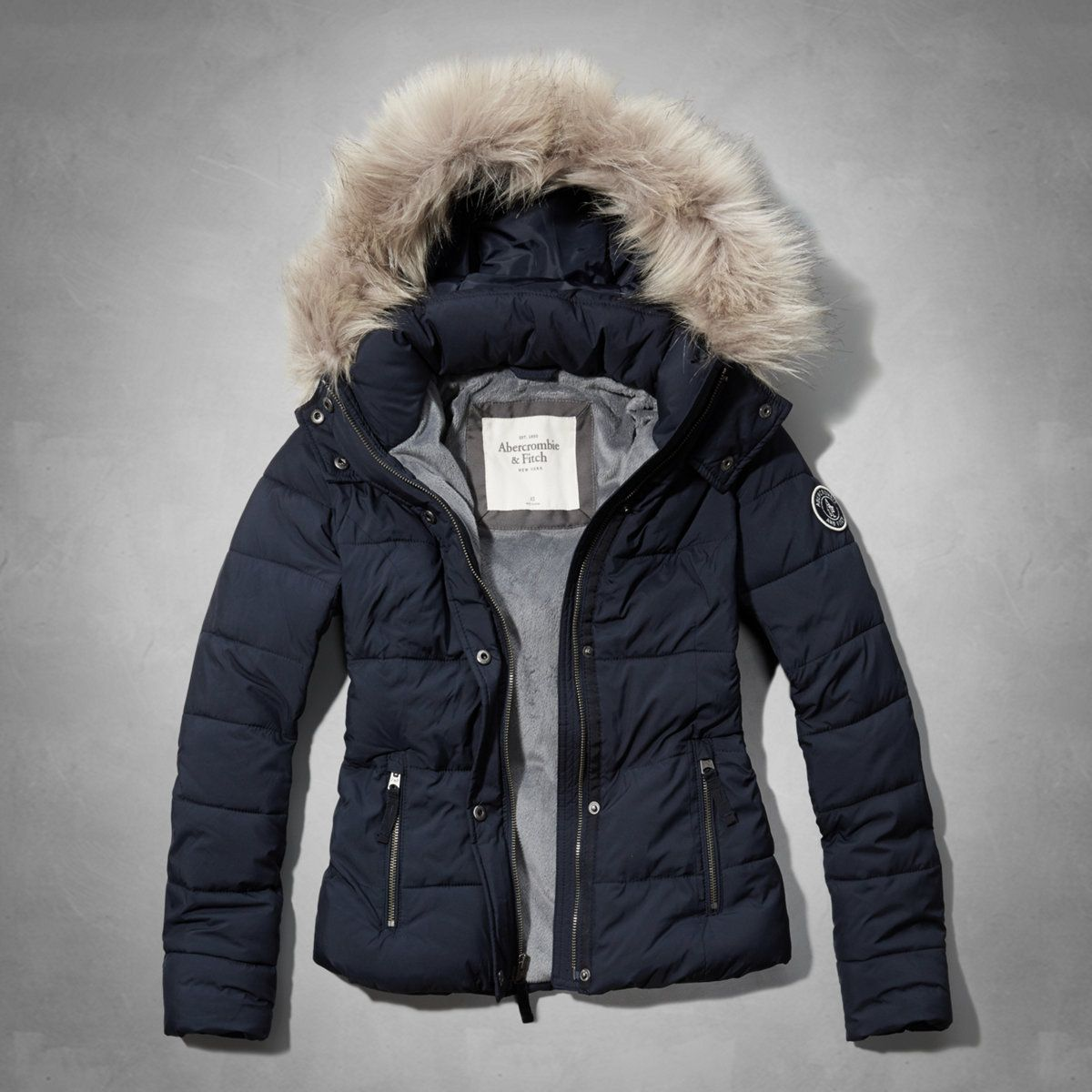 Womens A&F Classic Puffer Jacket | Womens Sale | Abercrombie
