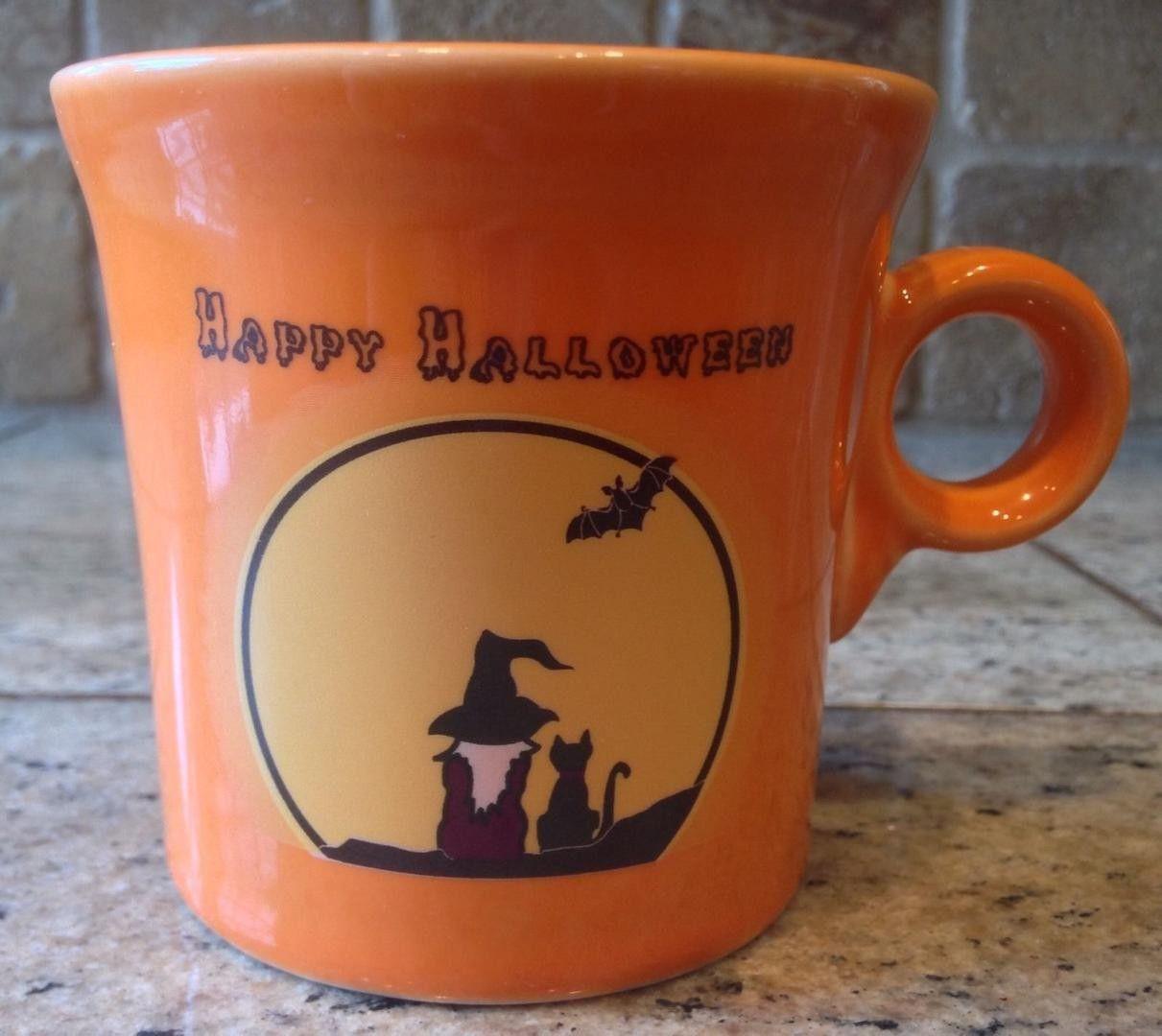 RARE FiestaWare Coffee Mug Cup Happy HALLOWEEN Orange Black Moon