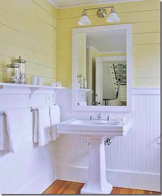 Beadboard And Ship Lap Bathroom Our Current Bath Pinterest Beadboard Bathroom Yellow Bathrooms Bathrooms Remodel
