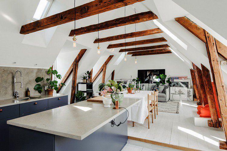 plafond poutre apparente dans la cuisine ouverte et le salon - cuisine ouverte sur salon m