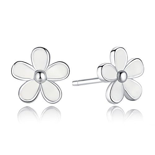 Sterling Silver Flower Earrings Black Enamel Daisy Stud