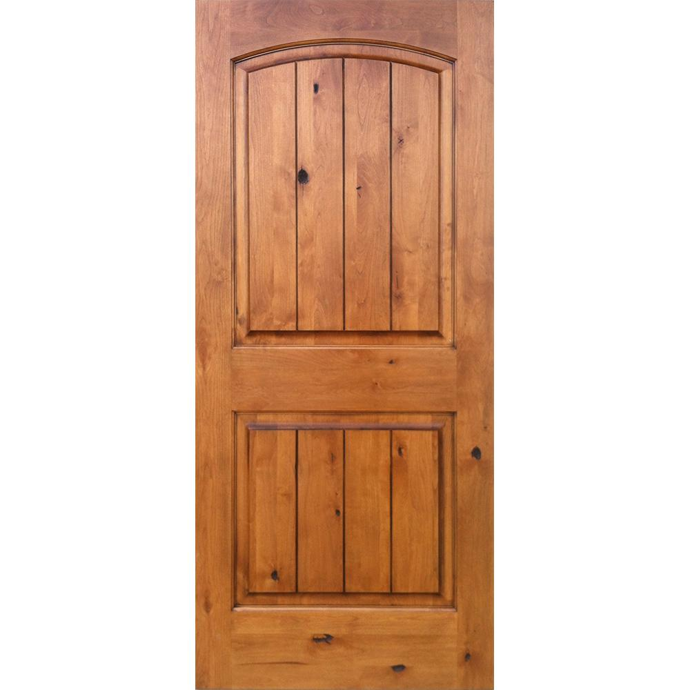 Krosswood Doors 28 In X 80 In Knotty Alder 2 Panel Top Rail Arch V Groove Solid Right Hand Wood Single Prehung Interior Door Unfinished Prehung Interior Doors Farmhouse Interior Doors Discount Interior Doors