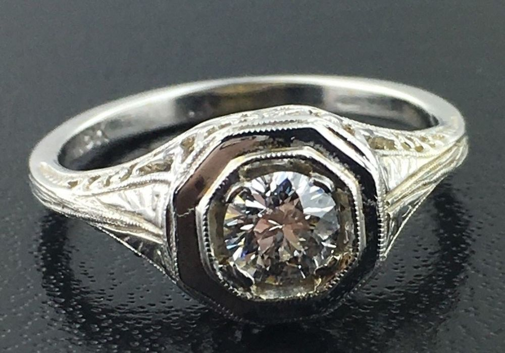 Antique 18k white gold filigree diamond engagement ring in