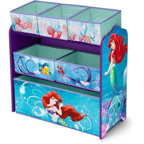 Blue Storage Kids Toy Box Playroom Furniture Bedroom Girls: Delta Disney Little Mermaid Multi-Bin Toy Organizer: Kids