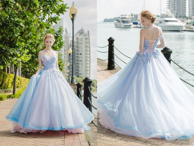 27 Princess Worthy Wedding Dresses Featuring Pastel Color Combinations