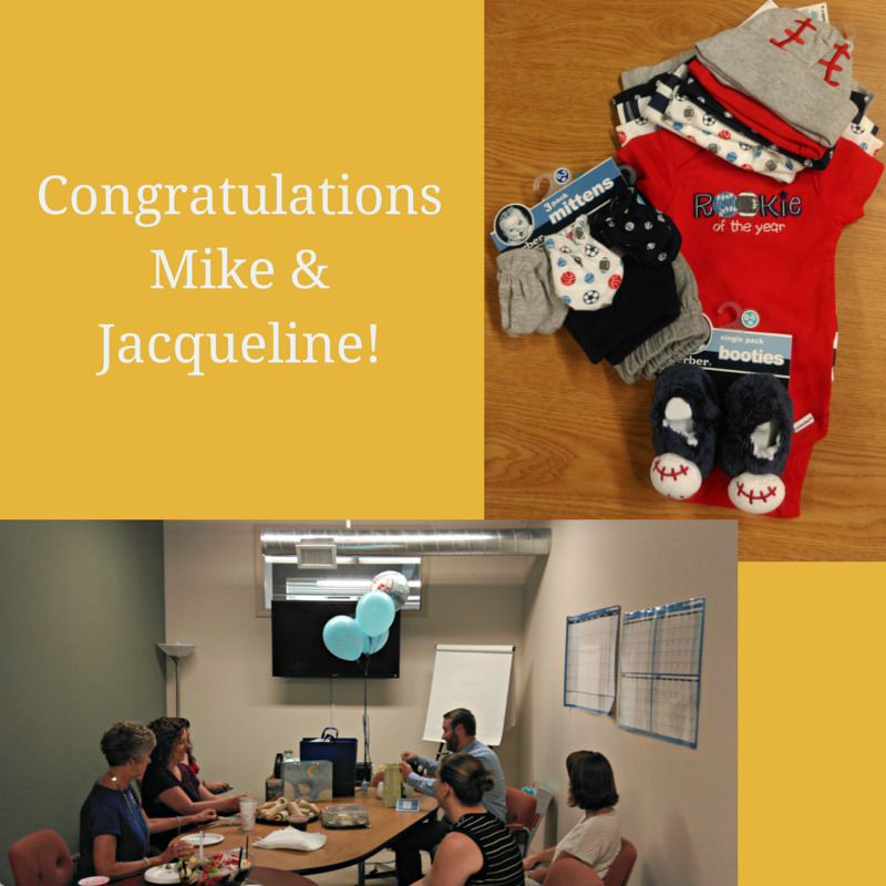 Yesterday we celebrated Mike's little bundle of joy with some baseball themed gifts – congratulations Mike & Jacqueline!