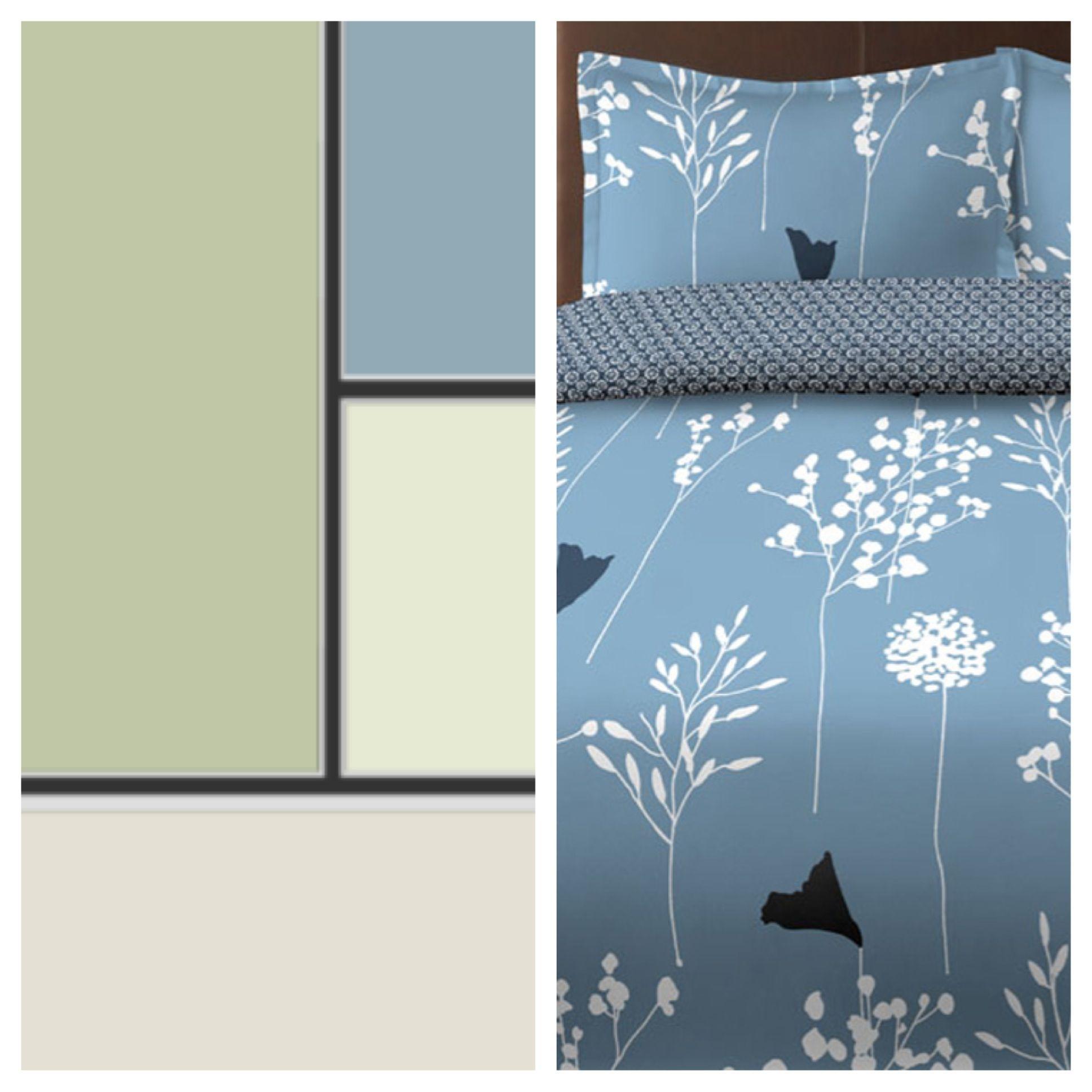 Color scheme and bedding for my bedroom makeover Behr Rejuvenate