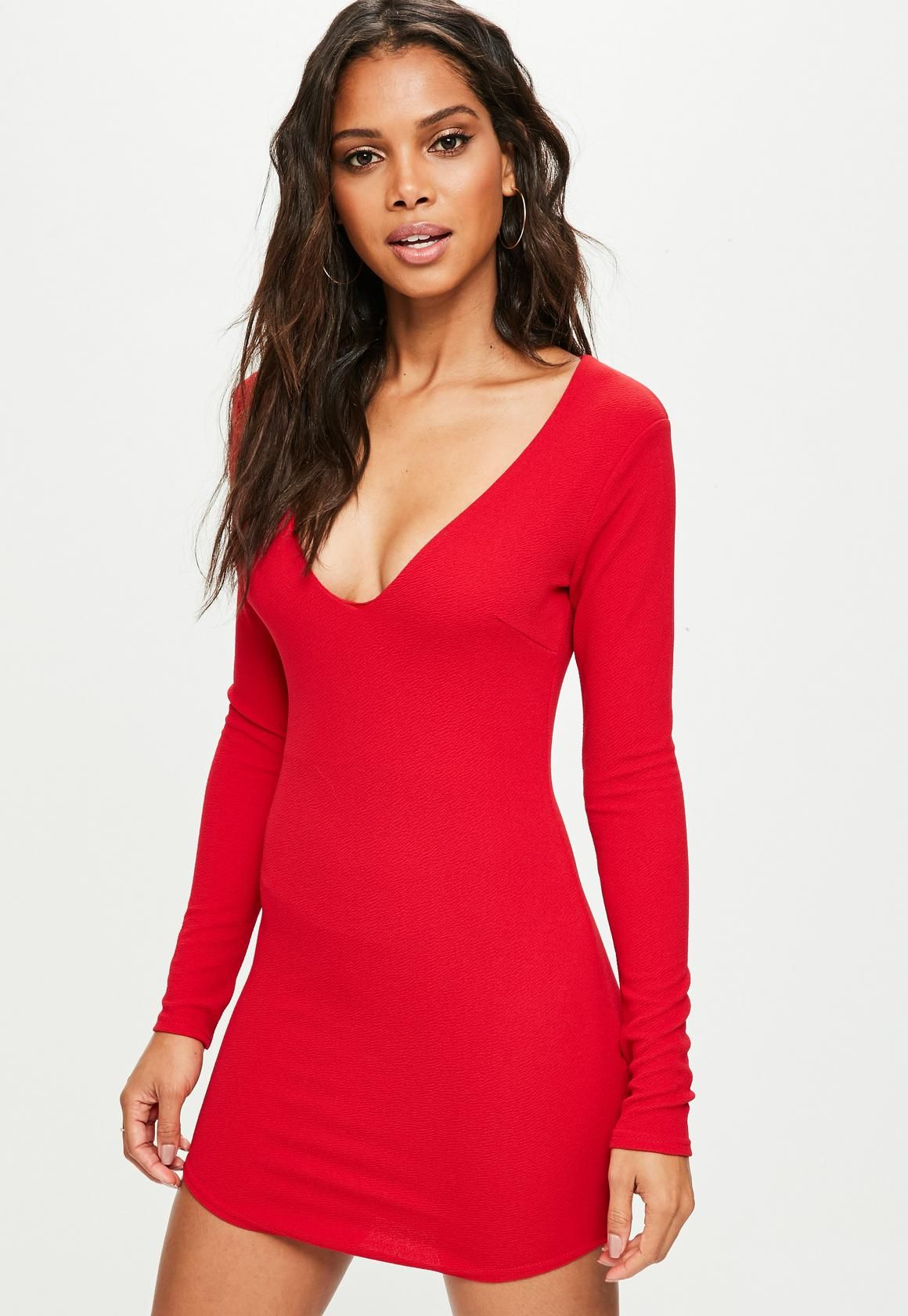 Red Dress In A Crepe Fabric Bodycon Style And Long Sleeves Dresses Bodycon Fashion Women Dress Online