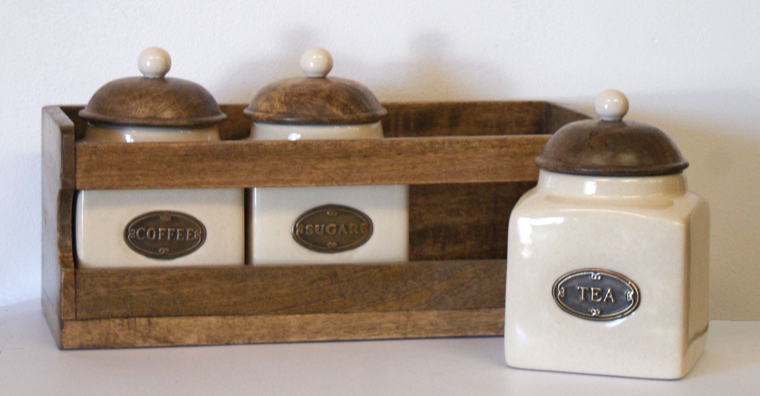 Country Kitchen Tea Coffee And Sugar Canisters With Stamped Metal Labels In A