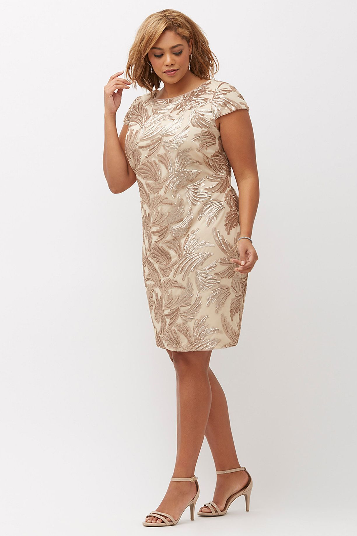 Plus Size Dresses Adrianna Papell Cap Sleeve