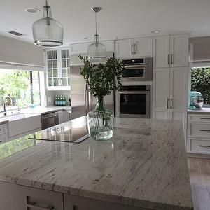 Superbe River White Granite Countertops, Transitional, Kitchen, Sherwin Williams  Dorian Gray, K Sarah Designs