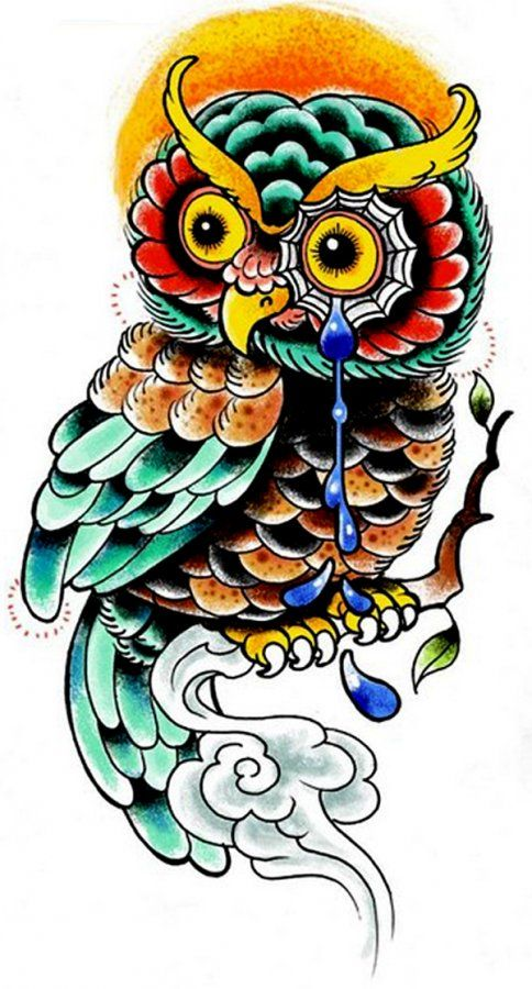 Owl Tattoo Design Full Color