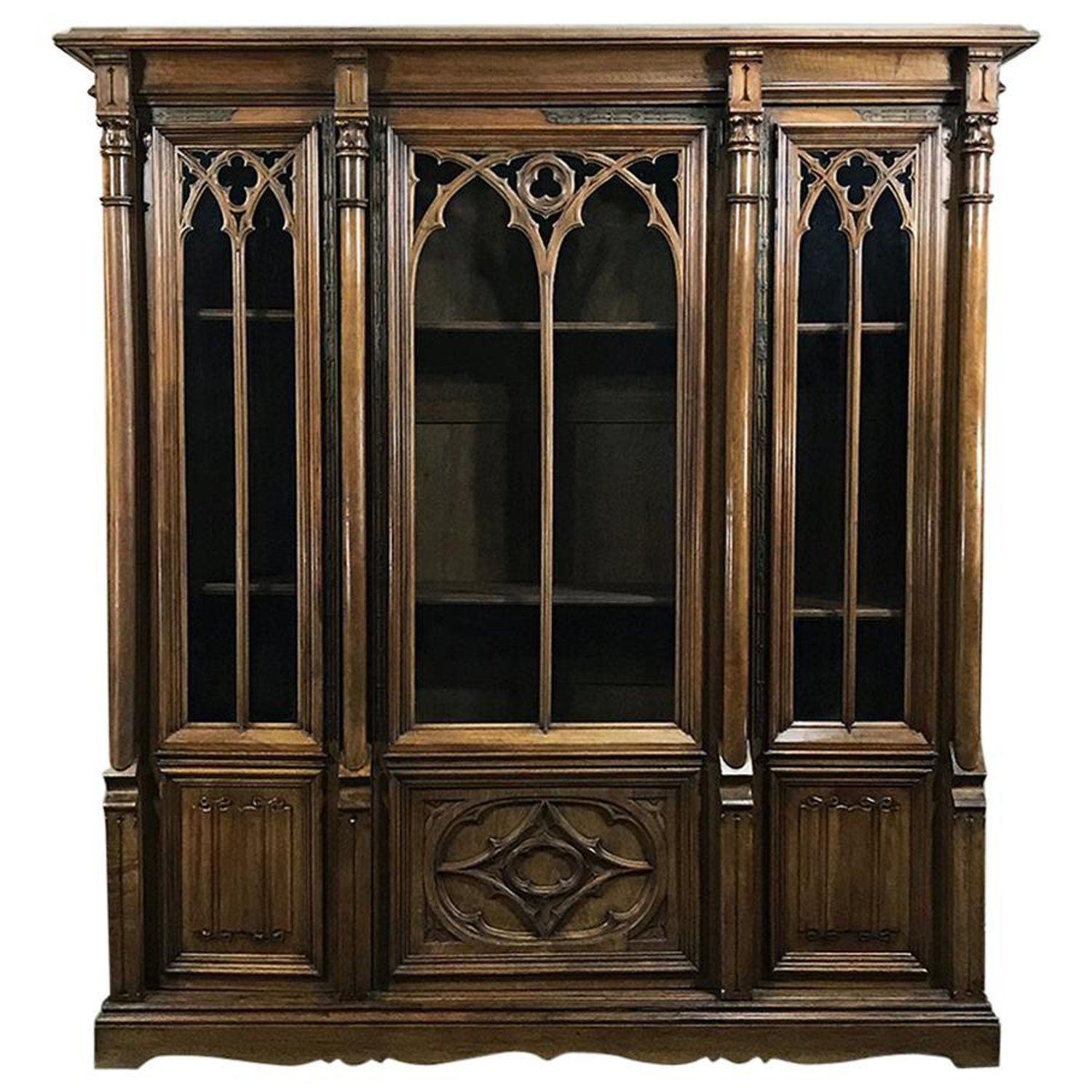 19th Century Antique Gothic French Walnut Triple Bookcase In 2020 Antique Bookcase Classic Home Furniture Leather Living Room Furniture
