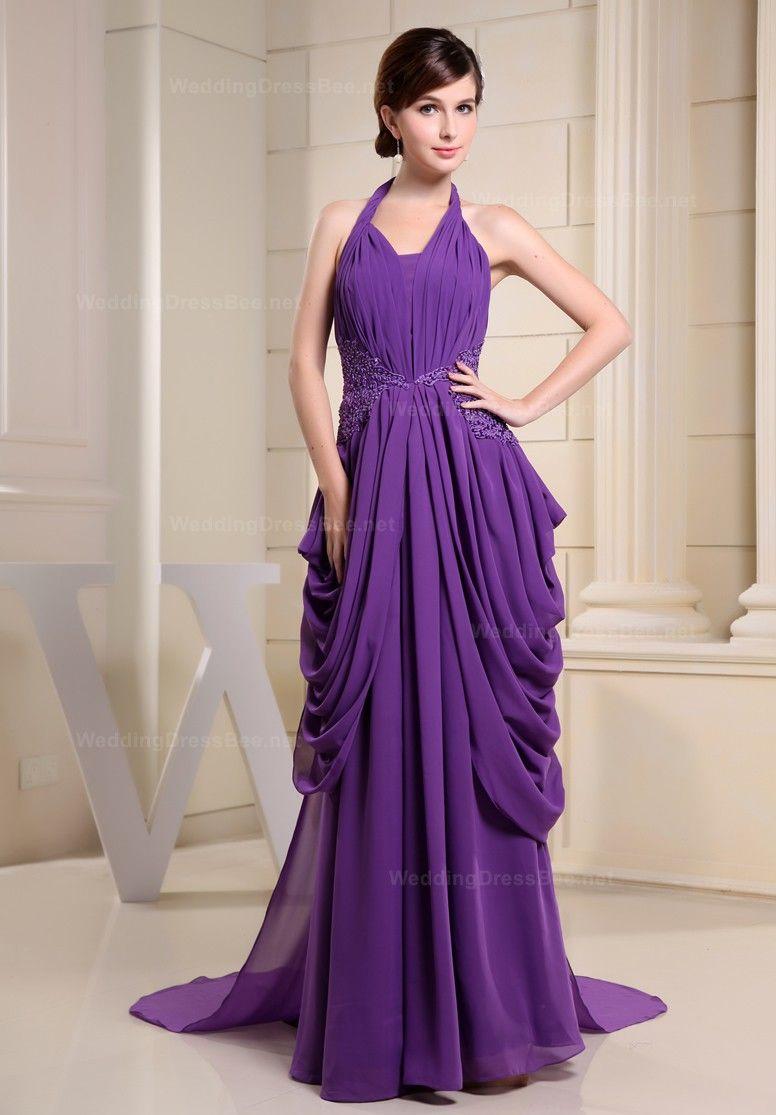 Elegant halter neck floor-length chiffon evening dress $210.00 ...