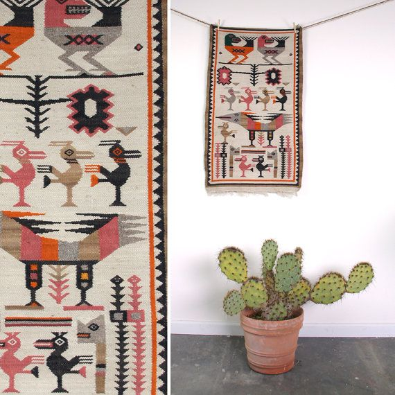 Native American Wall Hangings vintage native american wall hanging / woven tapestry / bird motif