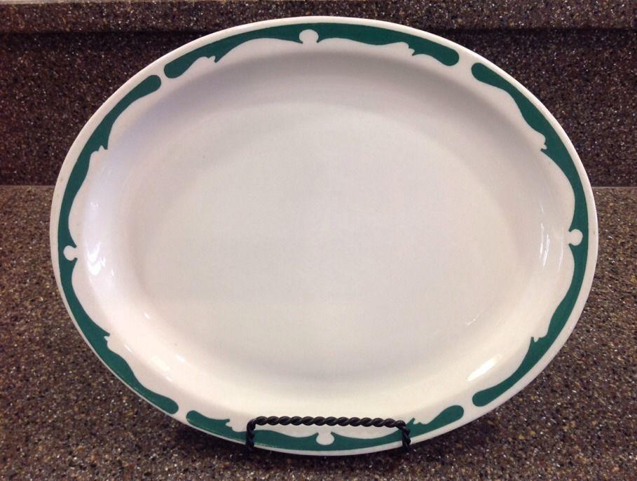 Buffalo China Green Scroll Crest Rim 11 3/8\  Oval Platter Restaurant Style # & Buffalo China Green Scroll Crest Rim 11 3/8\