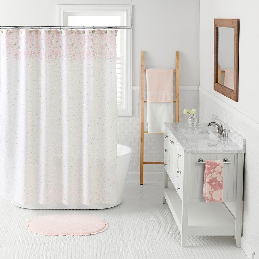 Lc Lauren Conrad Confetti Shower Curtain Light Pink Simple