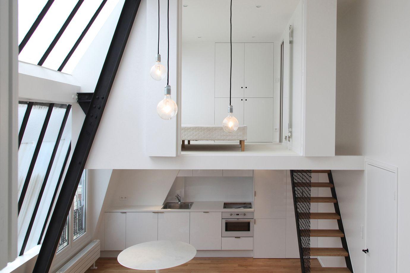 Studio Loft Apartment In Paris With Two Symmetrical Mezzanines