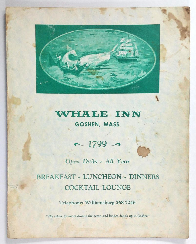 1960\'s Vintage Menu THE WHALE INN Restaurant & Whaling Ship Lounge ...