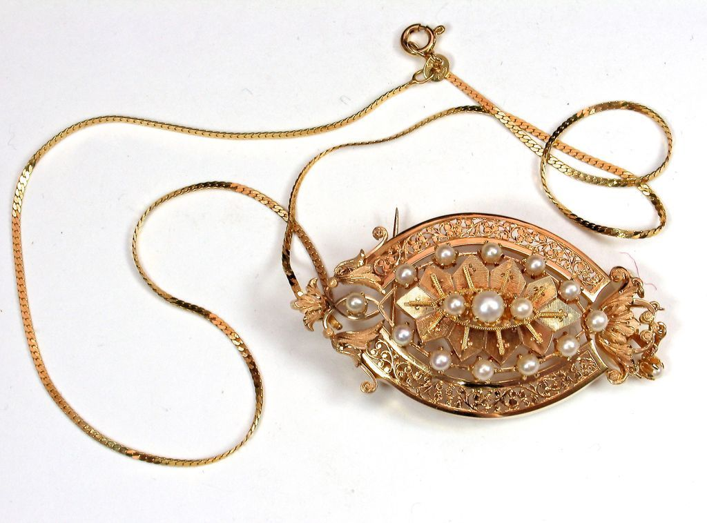 14k Victorian Pin Pendant with Cultured Pearls - Glorious Detail