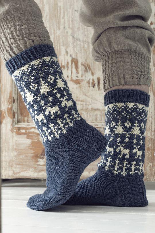Novita wool socks, A Trip into the Woods Socks made with Novita Nalle (Teddy Bear) yarn #novitaknits #knitting #knits #villasukat #raggsockor https://www.novitaknits.com/en