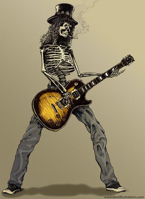 фото рок с гитарой скелет корней