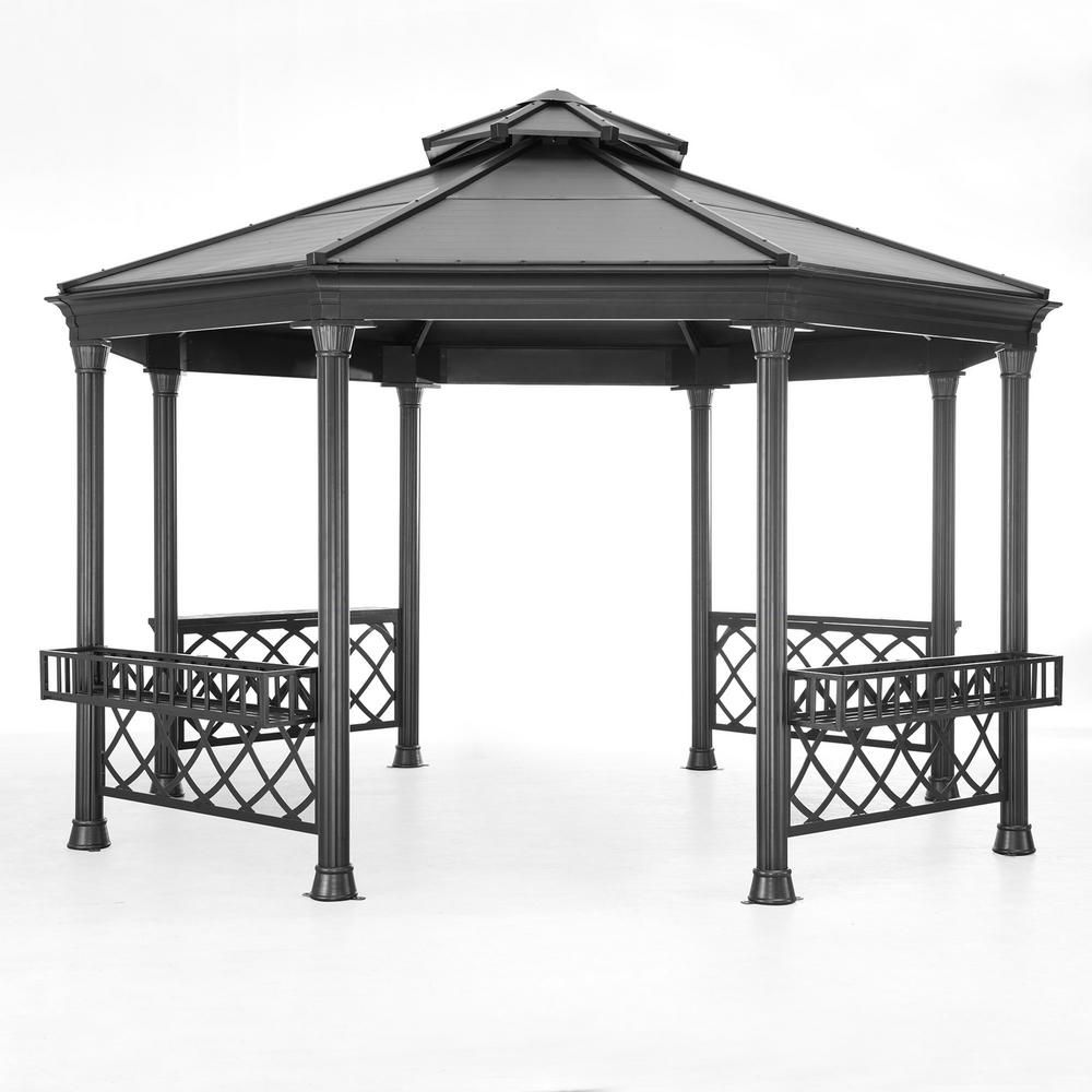 Sunjoy Stockton 14 Ft X 13 Ft Black Steel Gazebo 110102032 The Home Depot Hexagon Gazebo Steel Gazebo Outdoor Gazebos