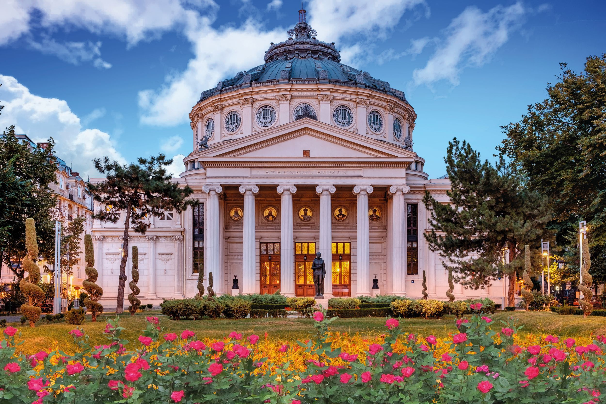 Romanian Atheneum, an important concert hall and landmark in the centre of Bucharest, Romania, where the George Enescu annual inter… | Bucharest, Romania, Athenaeum