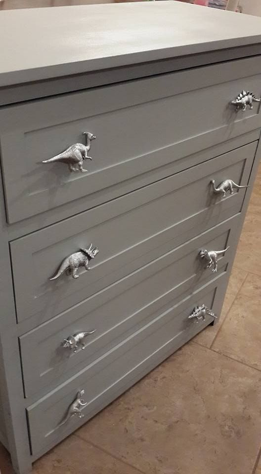 Drawer pulls spray paint plastic dinosaurs and screw on