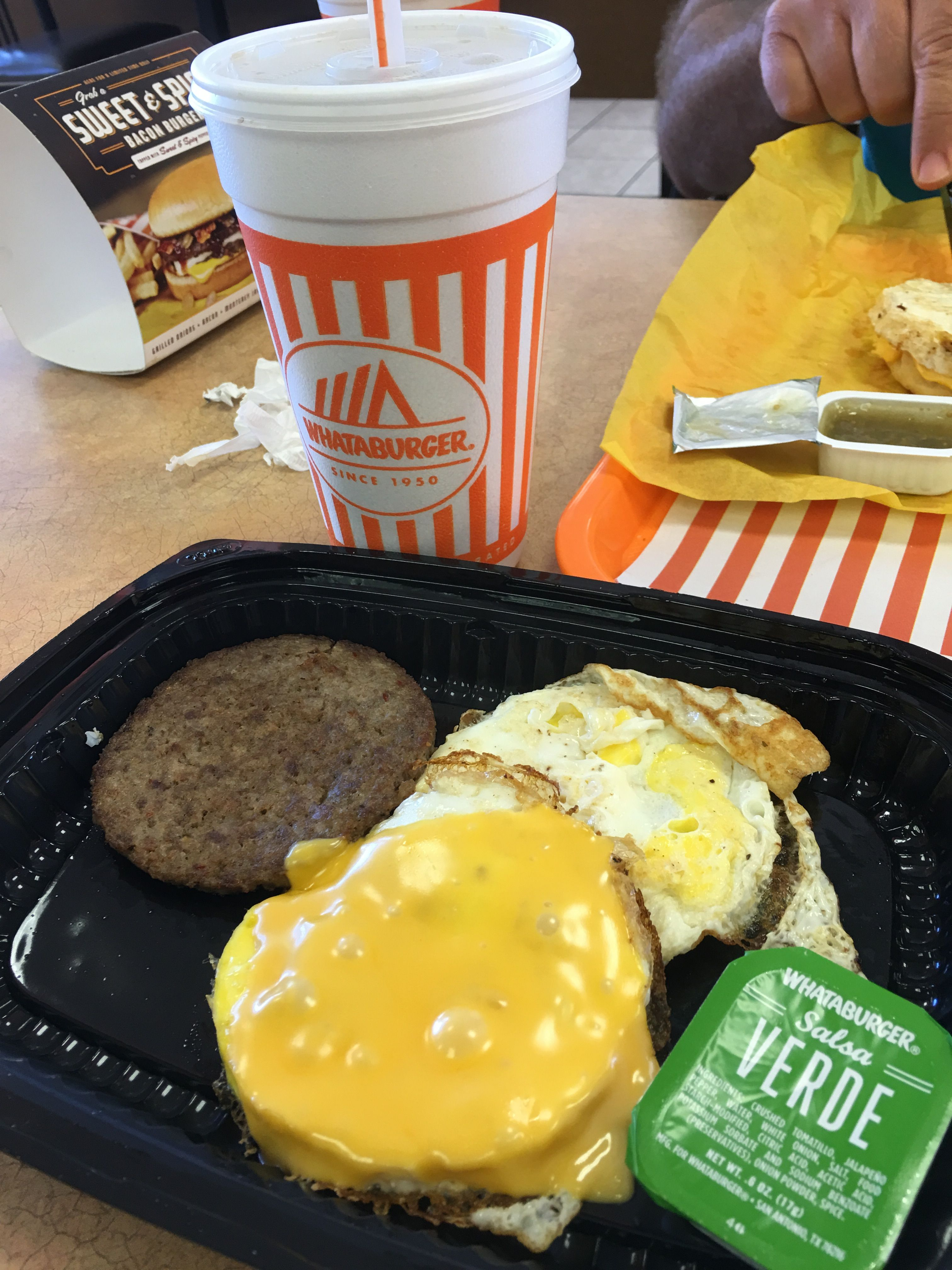 whataburger breakfast on a bun extra egg, no bun. with salsa verde