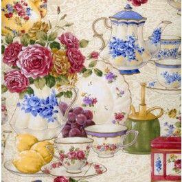 Superb Afternoon Tea Teacups Teapots Quilt Fabric From Sarah J Home Decor