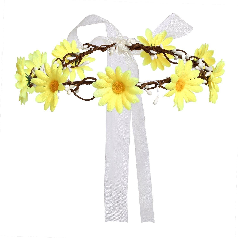 Daisy Flower Headband Crown With Adjustable Ribbon For Wedding
