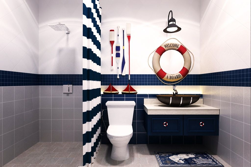 Nautical Boy 39 S Bathroom Paint Cabinets Navy Light Gray Walls Red Navy Accents S Spaces