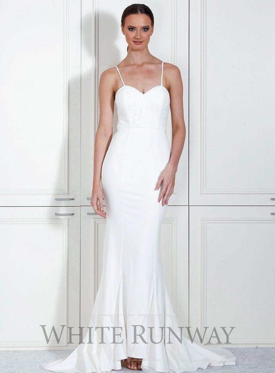 Cassandra Dress. A stunning full length dress by Samantha Rose. Features a sweetheart neckline with lace bodice. #whiterunway #bridesmaids #evening #weddingfashion #wedding #bridetobe #formal #evening
