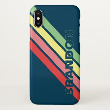 Custom Yellow Green Coral Red Stripes On Dark Blue iPhone Case  Custom Yellow Green Coral Red Stripes On Dark Blue iPhone Case
