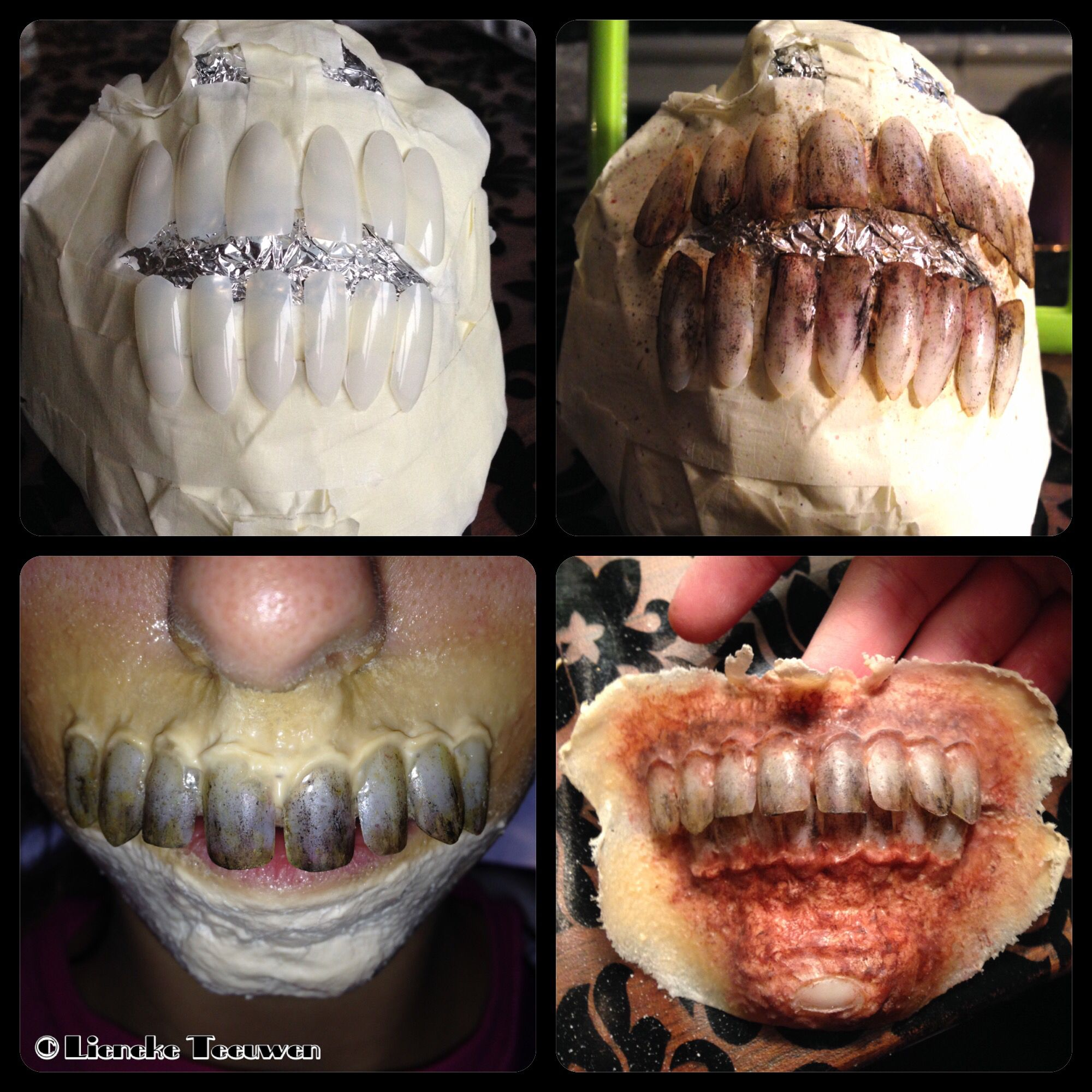 Zombie teeth made out of fake plastic nails. Painted with ...