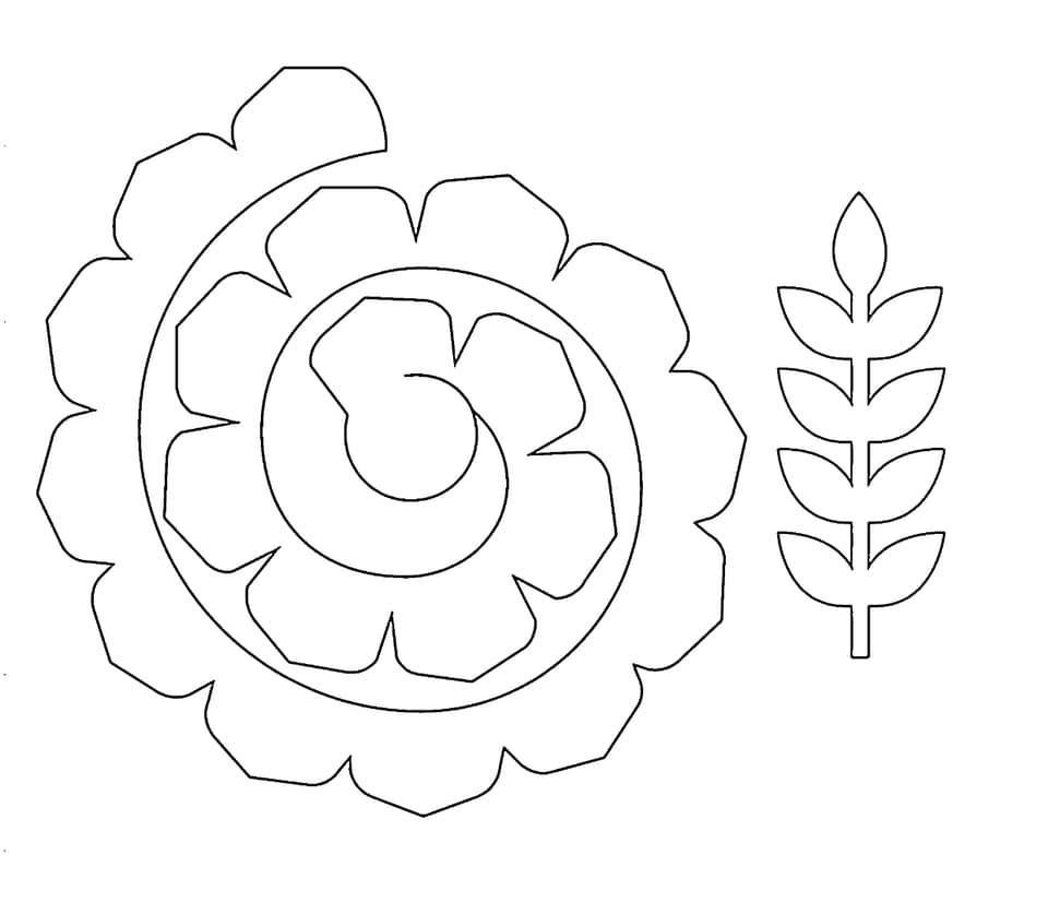 Molde De Flor Enrolada E Ramo De Planta Feltflowertemplate Molde