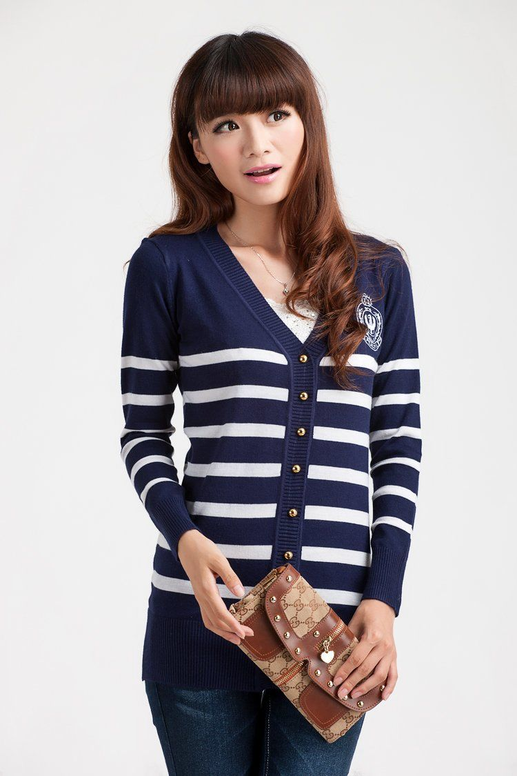 navy ladies cardigan | Womens Cardigans | Pinterest | Striped ...